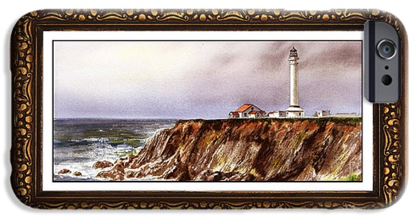 Lighthouse Paintings iPhone Cases - Lighthouse In Vintage Frame iPhone Case by Irina Sztukowski