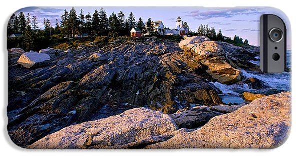 Pemaquid Lighthouse iPhone Cases - Lighthouse Island Sunset iPhone Case by Sean Cupp