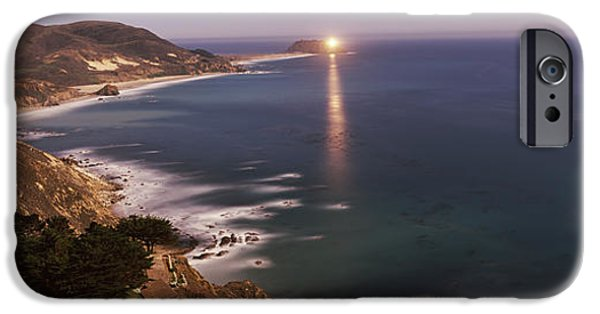 Big Sur California iPhone Cases - Lighthouse Lit Up At Night, Moonlight iPhone Case by Panoramic Images