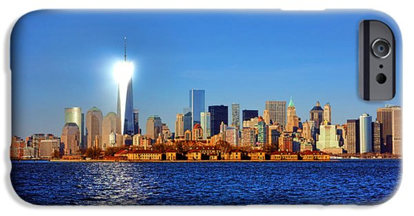 New Jersey iPhone Cases - Lighthouse Manhattan iPhone Case by Olivier Le Queinec
