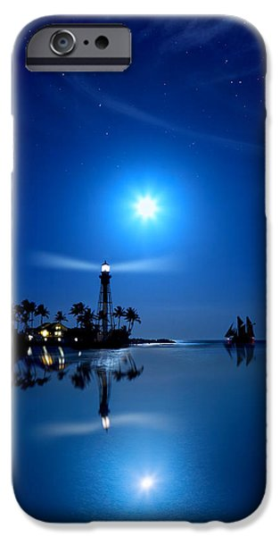 Lighthouse Moon iPhone Case by Mark Andrew Thomas