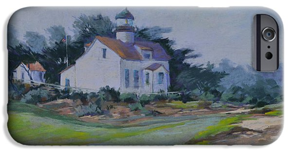 Lighthouse Pastels iPhone Cases - Lighthouse Morning Fog iPhone Case by Patricia Rose Ford