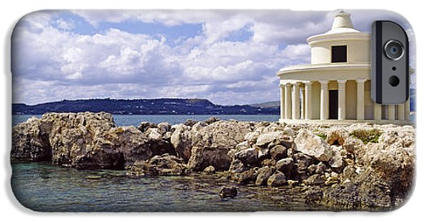 Lighthouse iPhone Cases - Lighthouse Of Saint Theodoroi iPhone Case by Panoramic Images