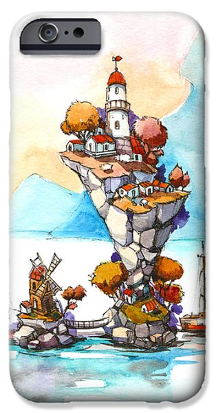 Pleasure Drawings iPhone Cases - Lighthouse iPhone Case by Olga Aksenova