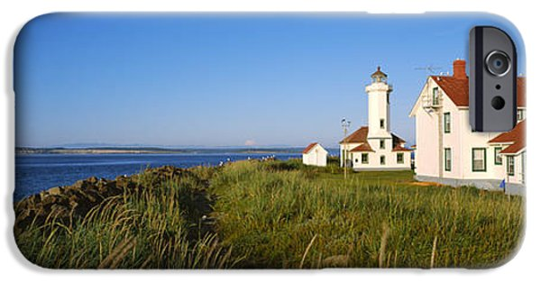 Lighthouse iPhone Cases - Lighthouse On A Landscape, Ft. Worden iPhone Case by Panoramic Images