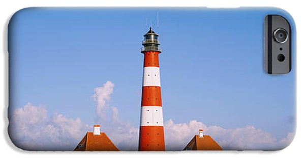Lighthouse iPhone Cases - Lighthouse On A Landscape, Westerhever iPhone Case by Panoramic Images