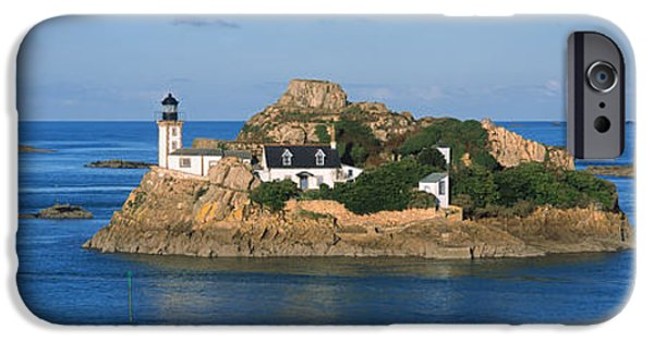 Lighthouse iPhone Cases - Lighthouse On An Island, Ile Louet iPhone Case by Panoramic Images