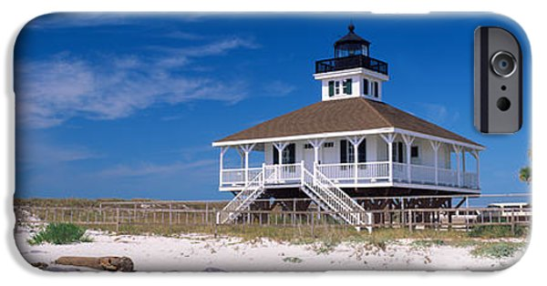 American Flag iPhone Cases - Lighthouse On The Beach, Port Boca iPhone Case by Panoramic Images