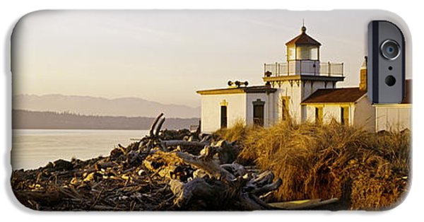 Lighthouse iPhone Cases - Lighthouse On The Beach, West Point iPhone Case by Panoramic Images