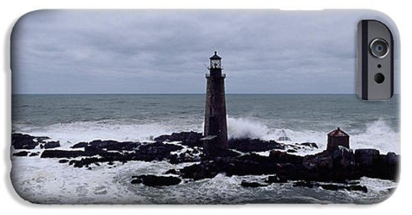 New England Lighthouse iPhone Cases - Lighthouse On The Coast, Graves Light iPhone Case by Panoramic Images