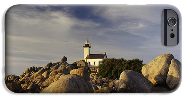 Lighthouse iPhone Cases - Lighthouse On The Coast, Pontusval iPhone Case by Panoramic Images