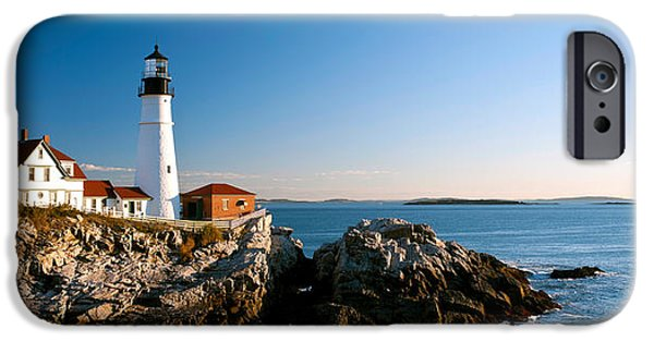 Ledge Photographs iPhone Cases - Lighthouse On The Coast, Portland Head iPhone Case by Panoramic Images
