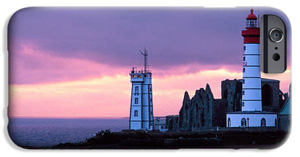 Lighthouse iPhone Cases - Lighthouse On The Coast, Saint Mathieu iPhone Case by Panoramic Images