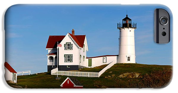 Cape Neddick Lighthouse iPhone Cases - Lighthouse On The Hill, Cape Neddick iPhone Case by Panoramic Images