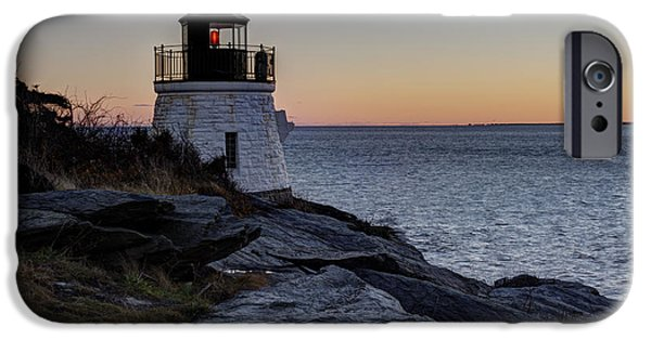New England Lighthouse iPhone Cases - Lighthouse On The Rocks at Castle Hill iPhone Case by Andrew Pacheco