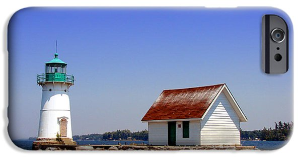 Lighthouses iPhone Cases - Lighthouse on the St Lawrence River iPhone Case by Olivier Le Queinec