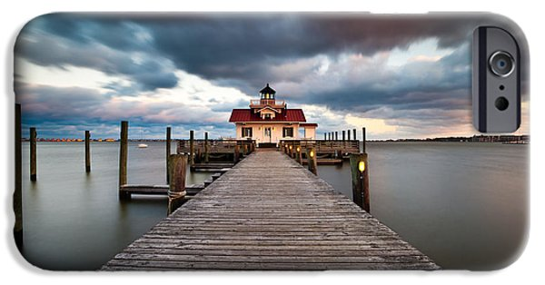 Lighthouse iPhone Cases - Lighthouse - Outer Banks NC Manteo Lighthouse Roanoke Marshes iPhone Case by Dave Allen