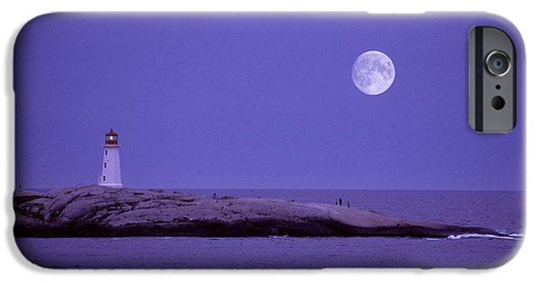 Sea Moon Full Moon iPhone Cases - Lighthouse, Peggys Cove iPhone Case by Novastock