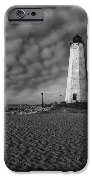 Maritime iPhone Cases - Lighthouse Point Park BW iPhone Case by Susan Candelario
