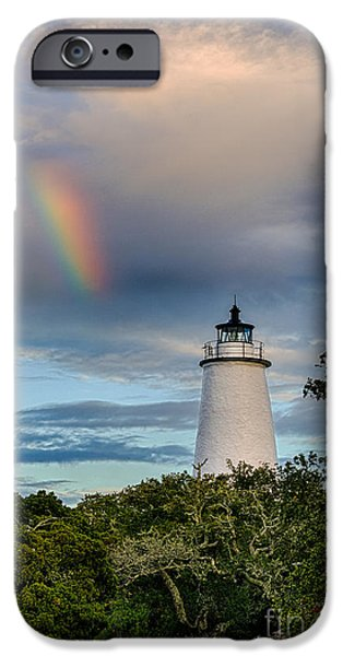 Lighthouse Pyrography iPhone Cases - Lighthouse Rainbow iPhone Case by Dan Waters