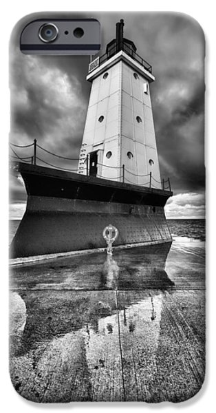 And iPhone Cases - Lighthouse Reflection Black and White iPhone Case by Sebastian Musial