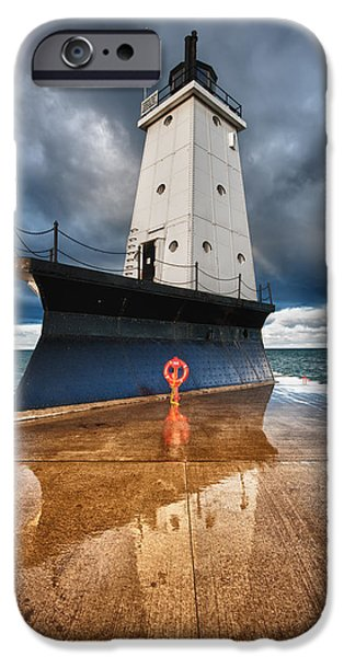 Storm iPhone Cases - Lighthouse Reflection iPhone Case by Sebastian Musial