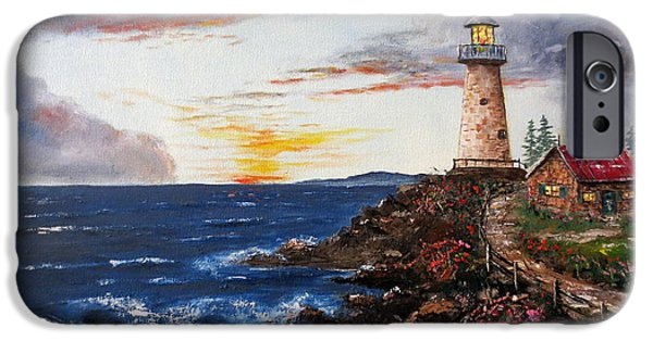 Lighthouse iPhone Cases - LIghthouse Road At Sunset iPhone Case by Lee Piper