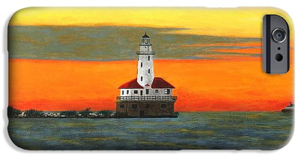 Chicago Paintings iPhone Cases - Lighthouse Sunrise at Navy Pier iPhone Case by Jonathan Morgan