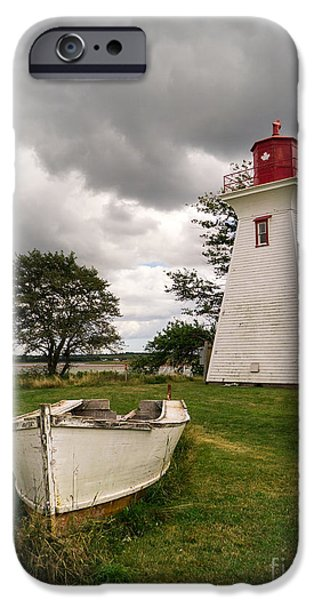 Prince Edward Island iPhone Cases - Lighthouse Victoria by the Sea PEI iPhone Case by Edward Fielding