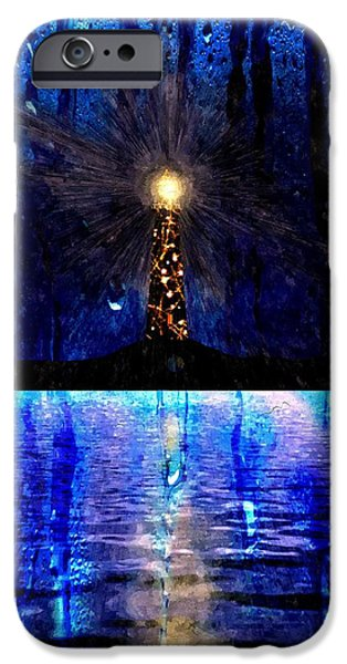 Rainy Day Mixed Media iPhone Cases - Lighthouse Watercolor iPhone Case by Daniel Janda