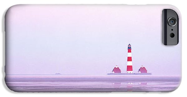 North Sea iPhone Cases - Lighthouse Westerhever North Sea Germany iPhone Case by Panoramic Images