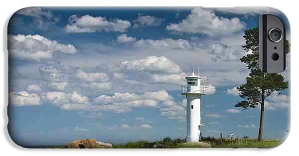 Lighthouse Pyrography iPhone Cases - Lighthouse with beautiful clouds iPhone Case by Anna Grigorjeva