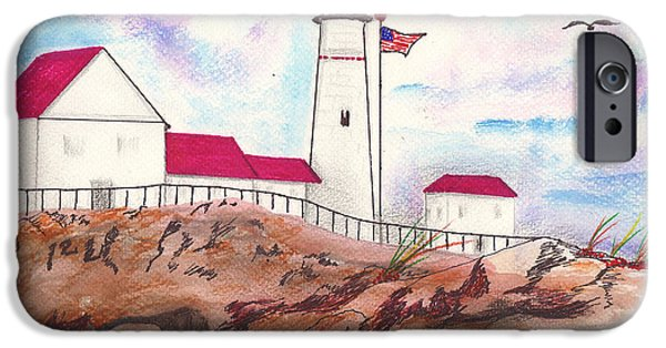 New England Lighthouse Mixed Media iPhone Cases - Lighthouse with colorful sky iPhone Case by Milton Rogers