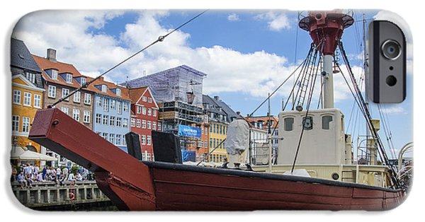 Wooden Ship iPhone Cases - Lighthouse XVII - Nyhavn - Copenhagen Denmark iPhone Case by Jon Berghoff