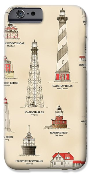 Lighthouse iPhone Cases - Lighthouses of the East Coast iPhone Case by Jerry McElroy - Public Domain Image