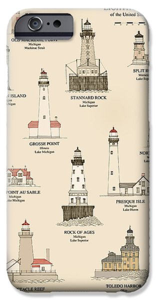 Lighthouse Drawings iPhone Cases - Lighthouses of the Great Lakes iPhone Case by Jerry McElroy - Public Domain Image