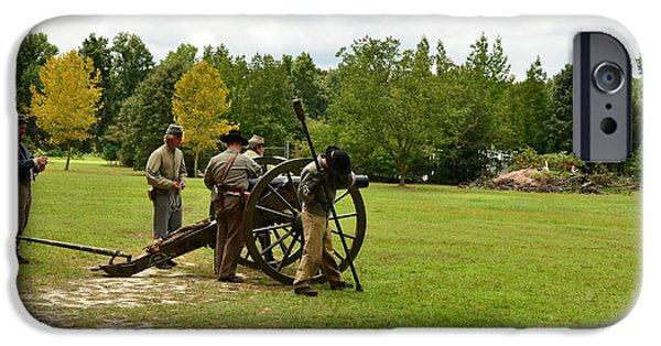 Civil War Re-enactment iPhone Cases - Lighting the Fuse of a Civil War Canon iPhone Case by Bob Sample