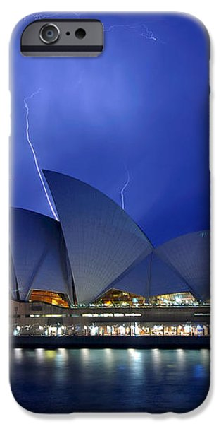 Lightning above The Opera House iPhone Case by Kaye Menner