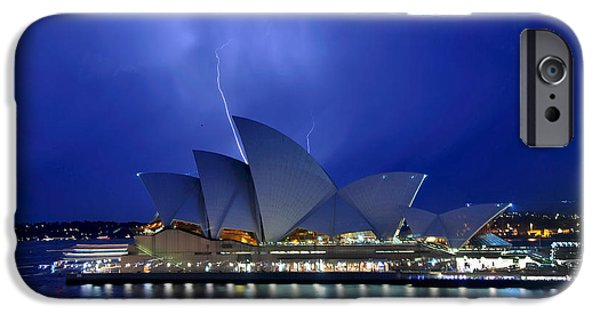 Photography Lightning iPhone Cases - Lightning above The Opera House iPhone Case by Kaye Menner