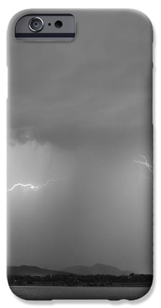 Lightning and Rain Over Rocky Mountain Foothills BW iPhone Case by James BO  Insogna