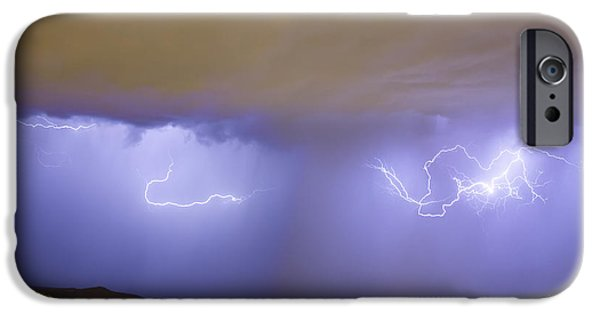 The Lightning Man iPhone Cases - Lightning and Rain Over Rocky Mountain Foothills iPhone Case by James BO  Insogna