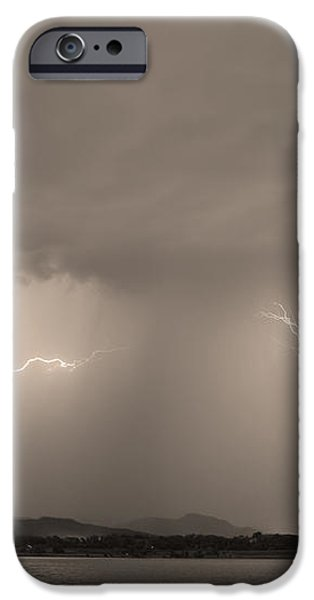 Lightning and Sepia Rain Over Rocky Mountain Foothills iPhone Case by James BO  Insogna