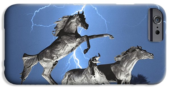 Lightning Images iPhone Cases - Lightning At Horse World BW Color Print iPhone Case by James BO  Insogna