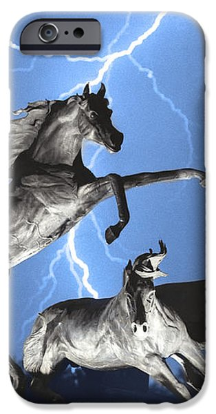Lightning At Horse World BW Color Print iPhone Case by James BO  Insogna