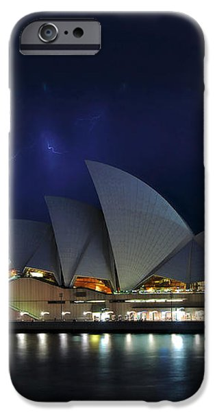 Lightning behind The Opera House iPhone Case by Kaye Menner