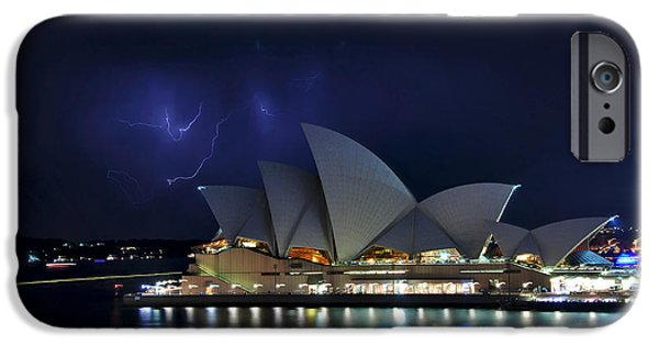 Photography Lightning iPhone Cases - Lightning behind The Opera House iPhone Case by Kaye Menner