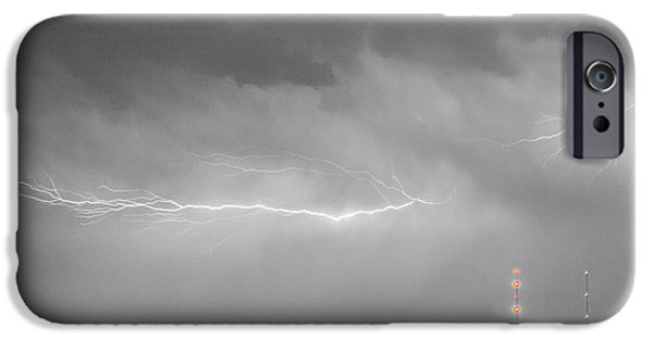 The Lightning Man iPhone Cases - Lightning Bolting Across the Sky BWSC iPhone Case by James BO  Insogna