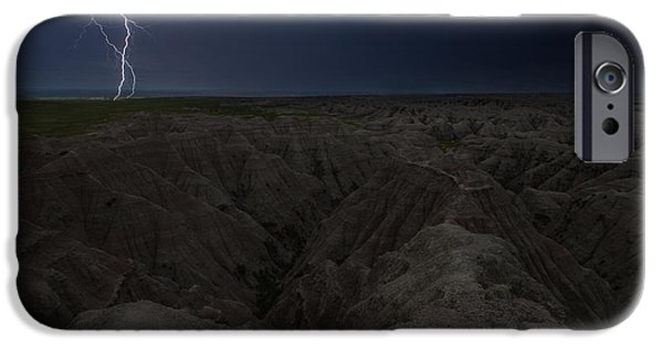 Badlands iPhone Cases - Lightning Crashes iPhone Case by Aaron J Groen