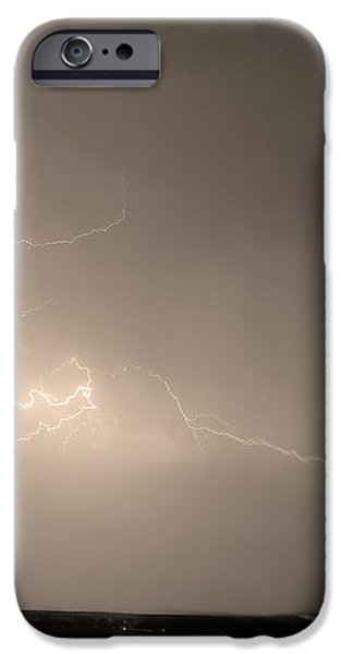Lightning Goes Boom In The Middle of The Night Sepia iPhone Case by James BO  Insogna