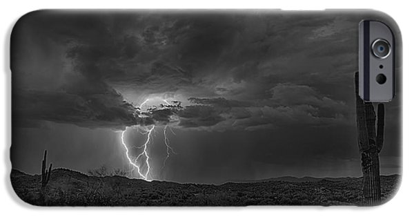 Natural Forces iPhone Cases - Lightning in Black and White  iPhone Case by Saija  Lehtonen
